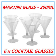 6 PK DISPOSABLE PARTY PLASTIC CLEAR COCKTAIL MARTINI GLASS 200 ML CUPS AP