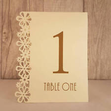 Ivory Wedding Table Numbers, 1-15, Laser Floral Design, Standalone NEW