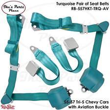 RetroBelt Pair-Turquoise Lap&Shoulder Seat Belts w/Retractors 55-57 Chevy-557HKT