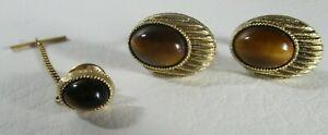 Vintage Oval Tiger's Eye Cabochon Cufflinks Tie Pin/Tack Set