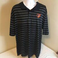 True Fan Mens Polo Shirt MLB Baltimore Orioles Os Black White Striped 2XL XXL
