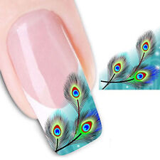 Nail Art Water Transfer Stickers Decals Peacock Feather Manicure Tips Decor DIY