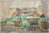 Impressionistische Ölstudie, Gemüsestand auf dem Wochenmarkt, um 1900