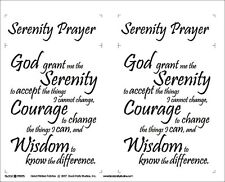 FABRIC PANEL~SERENITY PRAYER~BLOCK PARTY STUDIOS~BLACK INK ON NATURAL COTTON