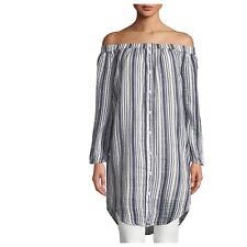 Three Dots Large Blue Striped Off The Shoulder Tunic Dress $188