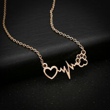 Women Electrocardiogram Rhythm Heart Beat Cat Dog Paws Clavicle Necklace Jewelry