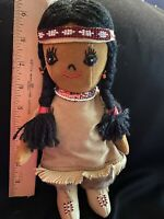 "Vintage Handmade Native Indian Cloth Doll 10"" Suede leather beaded beautiful"