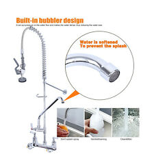 Swivel Commercial Wall Mount Pull Out Pre-Rinse Add-On Faucet Spout Sprayer