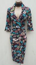 SIZE 12 UK Karen Millen Floral Jersey Shirt Style Cocktail Party Wrap Midi Dress