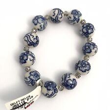 NWT BRIGHTON DELFT DELUX Bracelet Elasticized Dutch China Bead Blue White $62