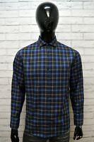 TRUSSARDI Camicia Uomo Taglia L Camicetta T-Shirt Hemd Cotone Quadri Blu