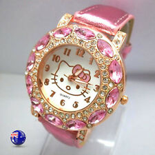 Women Lady Girl Pink Hello Kitty Crystal syn Leather Wrist Watch Christmas Gift