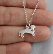 Dachshund Wiener Dog Necklace - 925 Sterling Silver - Heart Cutout Pendant Pet