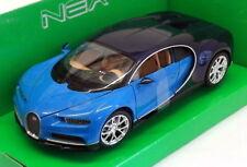 WELLY 1:24 NEX MODELS AUTO BUGATTI CHIRON BLU E NERA ART. 24077W