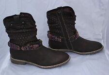 Ladies S. Oliver Dark Brown Ankle Boots with Aztec Style Decoration Size 3/36