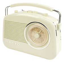 NEW PORTABLE RETRO 1960'S IVORY COLOUR BATTERY & MAINS OPERATED PORTABLE RADIO