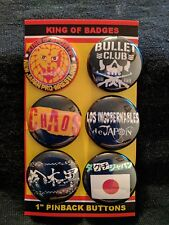"NJPW New Japan Pro Wrestling 1"" Button Set Bullet Club Los Ingobernables CHAOS"