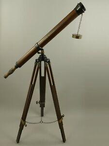 Telescope Brass Wood Tripod H.105cm