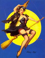 "Vintage GIL ELVGREN Pinup Girl A3 CANVAS PRINT Poster ~ Flying High ~ 16"" X 12"""
