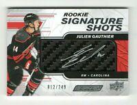 2019-20 UD Engrained Rookie Signature Shots Julien Gauthier Rc Auto #012/249