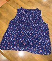 Lucky Brand Women's Sleeveless Blue Top with Cool Paisley Print, Size XL ~ NEW