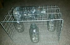 Antique Vintage Farmhouse Crate Basket Glass Dairy Bottles Decor Rustic DecorUSA