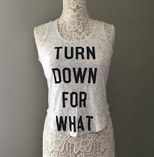 Turn Down For What Ribbed Tank Xs Mighty Fine Grey Graphic Cute Lounge Gym