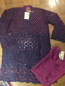 Beechtree Luxury Pret Size 12 Embroidered Net Kurta With Silk Lining/