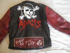 Men's Studded Leather Punk Jacket Size XL Black Flag / Adicts / Sex Pistols