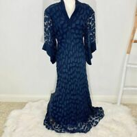 Amy Michelson For Holly Harp Vintage Gown Navy SZ LG