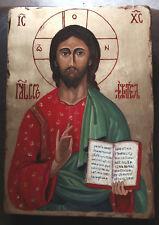 CRISTO PATOCRATORE  icona sacra dipinta a mano su legno massello e foglia oro