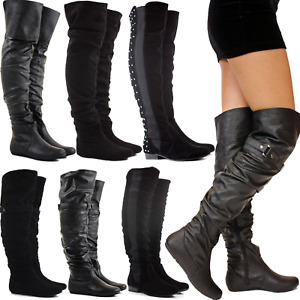 LADIES WOMENS FLAT ZIP STRETCH OVER THE KNEE THIGH HIGH BOOTS SIZE 3 4 5 6 7 8