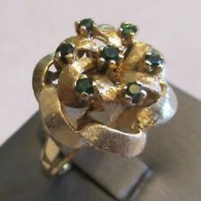 Vintage 14K Gold Ring  With Green Stones 8.60 Grams Size 9.75