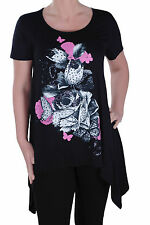 Womens Butterfly Floral Print Scoop Neck Short Sleeve Casual Blouse Tunic Top