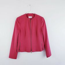 Akris Punto Blazer Jacket Size Us 10 Womens Red Wool Angora Zip Up