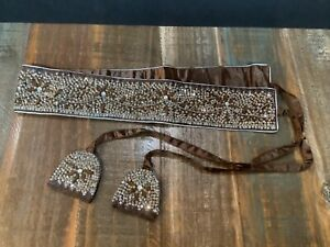 hand crafted Indian designer Krishma brown satin sequin/beaded belt euc