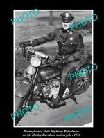 OLD POSTCARD SIZE PHOTO OF PENNSYLVANIA POLICE HARLEY DAVIDSON MOTORCYCLE c1930