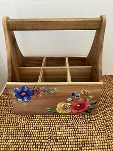 """Pioneer Woman Wood Floral CRAFT OFFICE UTENSIL HOLDER CADDY 8""""x6"""" NEW"""