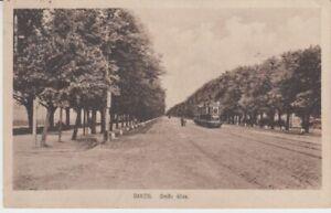 Carte Postale Danzig Grand Avenue Tramway Courrier Militaire 1918
