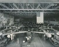 '42 P38 LIGHTNING AIRPLANE ASSEMBLY LINE USA FLAG PHOTO LOCKHEED BURBANK CA WWII