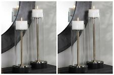 """FOUR CHARVI CANDLE HOLDERS 16"""" 20"""" AGED BRASS & GLASS MISSION MODERN UTTERMOST"""