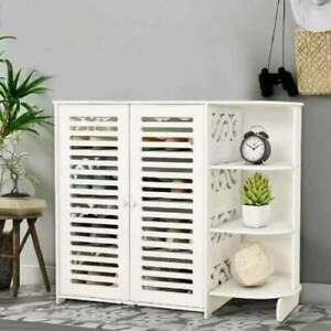 4 Tiers Shoe Rack Shoes Storage Cabinet Wooden Unit Stand Cupboard Organiser