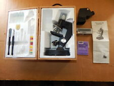 Vintage School Microscope in Wood Box w/ glass slides,tools,Ocular Lens-NICE!