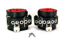 Locking Red Satin Lined Leather Ankle Bondage Cuffs by Axovus