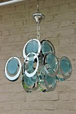 Rare Mid century 1970 Vistosi discs metal chrome chandelier sputnik