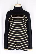 RALPH LAUREN Turtleneck Sweater PLUS SIZE 2X Black Gold Stripe Long Sleeve