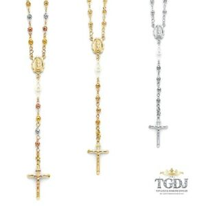 """14K 4mm Puff Ball Virgin Guadalupe Rosary Necklace - 26"""", 14.4 grams WHI/YEL/TRO"""