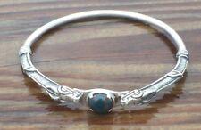 Celtic Dragon Bracelet .925 Sterling Silver w/ Natural Bloodstone Heliotrope gem