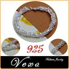 New 925 Sterling Silver Bracelet Charm Bangle Link Chain Ladies Womens UK BS08