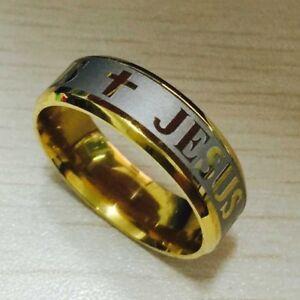 Herren Damen Edelstahl 8 mm Ring Jesus Kreuz Modeschmuck Gold Silber Unisex